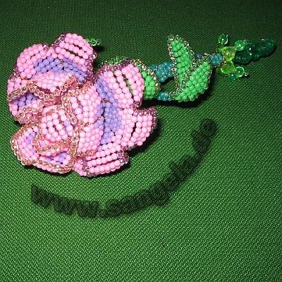 Объёмный 3D цветок из бисера - роза.  Поделки из бисера и проволоки Размер: 400=400.